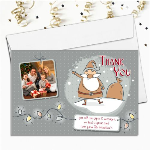 10 Personalised Christmas Xmas Thank you PHOTO Cards N28